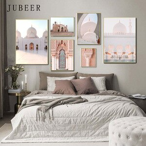 Islamic Wall Art Muslim Architecture Canvas Painting Pictures for Home Design Posters and Prints Living Room Decoration Home