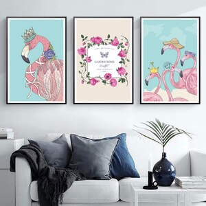 Poster And Prints Pink Flamingo For Girl's Bedroom Home Wall Decoration Accessories Anime Flower Wall Picture For Home Design