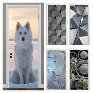 Snowfield Wolf Black Geometry Home Design Door Poster DIY Self Adhesive Mural Waterproof Door Sticker For Living Room Home Decal
