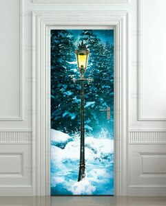 Door Stickers Winter Fantasy Forest Waterproof Pvc Self-Adhesive Home Decoration Stickers Mural Lamp Post Door Decor Home Design