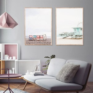 Nordic Style Landscape Poster Beach Palm Tree Reed Canvas Painting Wall Art Picture For Home Design Scandinavian Home Decor