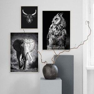 Pictures for Home Design Animal Canvas Painting Black and White Wall Art Prints for Home Bedroom Wall Decor