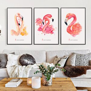 Canvas Wall Art Still life Flamingo Home Decore Poster And Prints Flower Canvas Painting No Frame Picture For Home Design