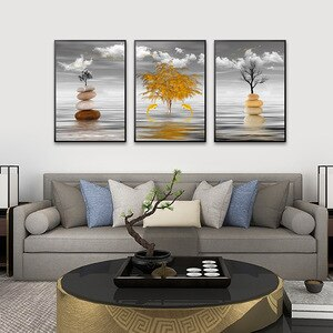 Black and white wall picture for home design golden fish canvas  poster wall art home decor Modern gold tree Canvas Printings