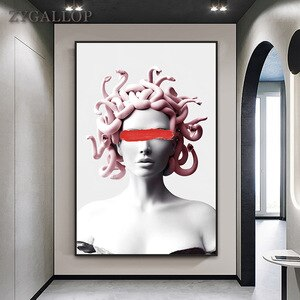 Medusa Sculpture Canvas Painting Vaporwave Art Posters and Prints Modern Wall Art Cover Face of Medusa Pictures for Home Design
