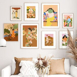 Colorful Plant Girl Book Sun Abstract Figure Wall Art Canvas Painting Nordic Posters And Prints Pictures For Home Design Bedroom