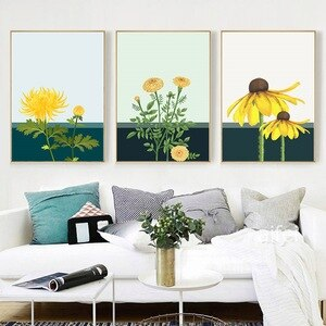 Yellow Chrysanthemum decoration Painting for Living Room Poster Print Flower Nordic Canvas Wall Art Decoration Home Design Paint