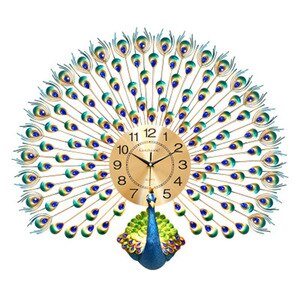 Peacock 3d Modern Clock Wall Decor Metal Big Large Decorative Luxury Wall Clock Living Room Farmhouse Wallclock Home Design C7T9