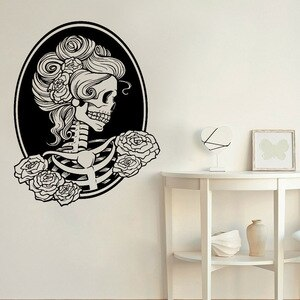 Skull Bone Wall Decal Day Of The Dead Rose Girl Door Window Vinyl Sticker Art Bedroom Bar Man Cave Home Design Decor Mural Q763
