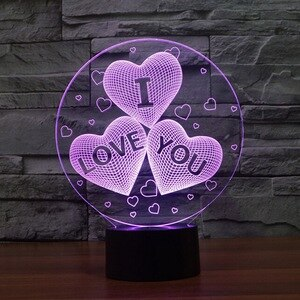 Valentine's Day Gift I LOVE YOU Colorful 3D Hologram Lamp USB Acrylic Lights Party Favor Girlfriend Gift Present Anniversary