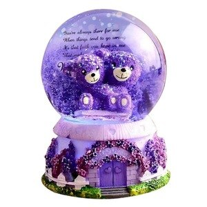 Valentine's Day Gifts Lavender Purple Bear Crystal Ball Music Box Mermaid Snowflakes Music Box Birthday Girlfriend Gift