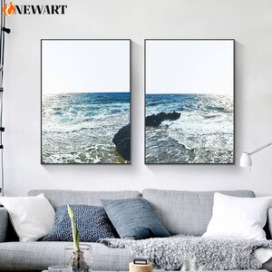 Landscape Nordic Canvas Painting Wall Poster Print Ocean Wave Modern Wall Art for Living Room Home Design Decoration Picture