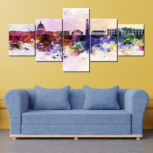 City Posters 5 Piece Canvas Art Space Wall Art Painting of Modern City Landscape Picture Frame for Living Room Decor Home Design