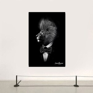 Black Classic Lion Wall Art Posters and Prints Animal Gentleman Lion Canvas Painting Picture for Living Room Home Design Decor