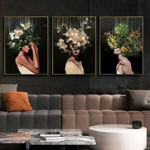 Abstract Wall Art Women Flowers Paintings On Canvas Art Posters and Prints Modern Figure Decorative Pictures For Home Design