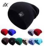 Cotton Blends Hip Hop Beanies For Girl Winter Cap Label Knitted Hat Female Unisex Solid Color Bonnet Casual Slouchy Skullies