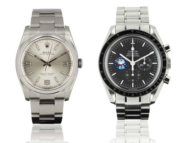 De gauche à droite : une Rolex Oyster perpetual (boîte 36 mm), excellent état au prix de 3 600 € et une Omega Speedmaster Moonwatch Snoopy (boîte 42 mm) vendue pour 5 700 €