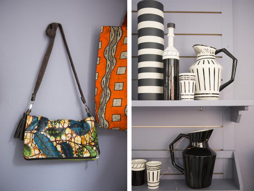 Chez Mademoiselle Fred, on mixe les formes, l'usage et les origines : de la maroquinerie en tissus africain aux brocs et verres en céramique peints à la main (créations signées Rosaria Rattin).