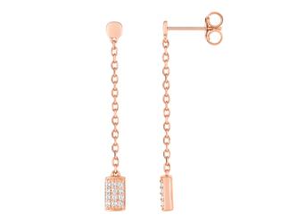 Collection Promesse by Lore. Pendants d'oreilles en or rose 9 carats et oxydes de zirconium. Prix : 125 €