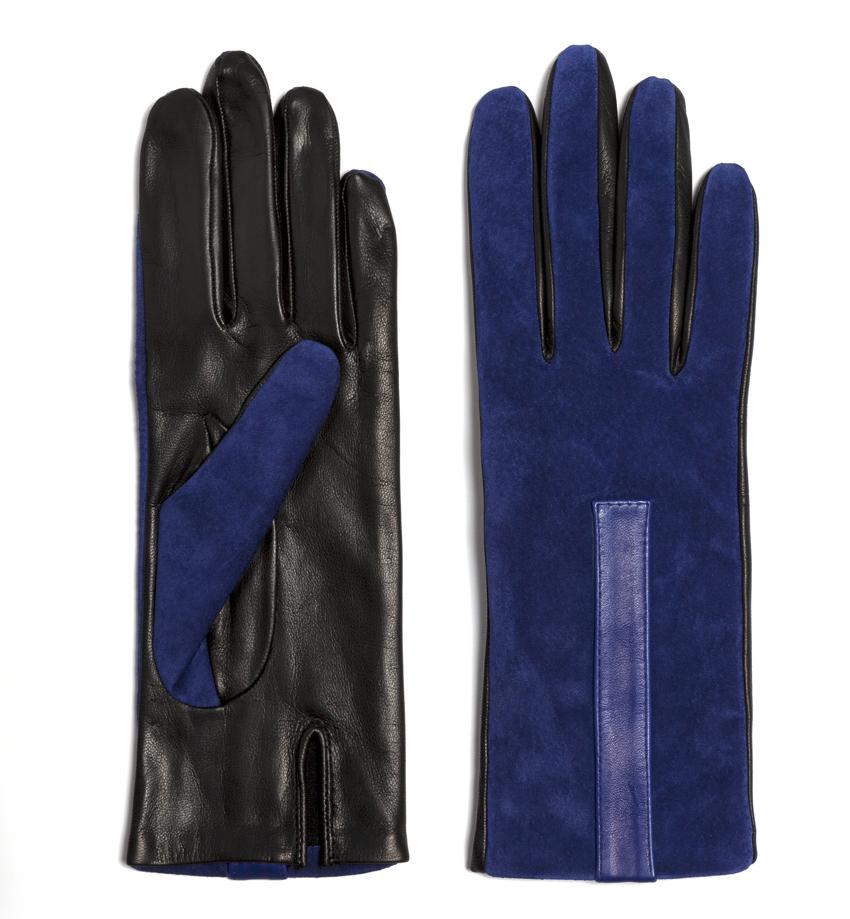 Paire de gants Georges Morand bi-couleur, en cuir. 215 €