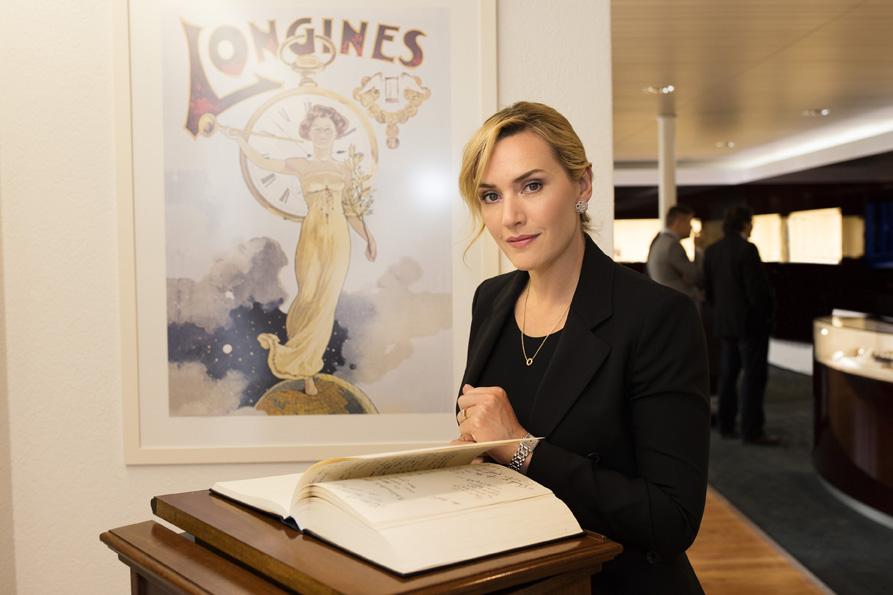 Depuis six ans, l'actrice britannique Kate Winslet personnifie la devise de Longines, à savoir « Elegance is an attitude ».