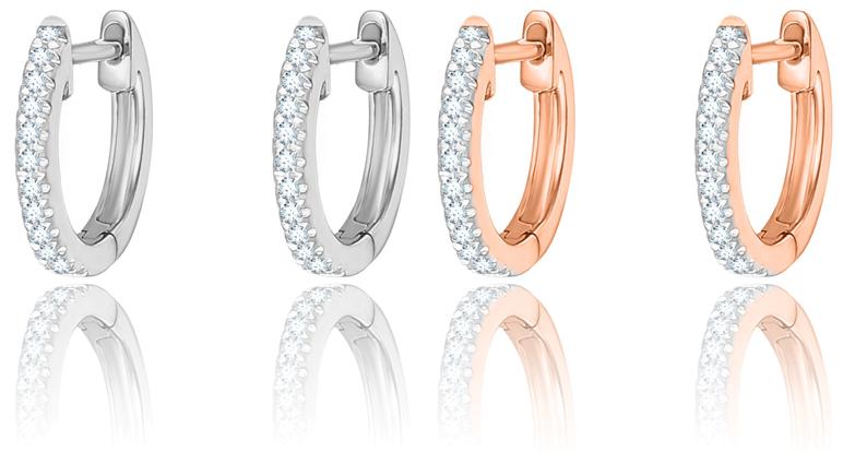 GUÉRIN JOAILLERIE Créoles en or rose et blancs 750 millièmes, serties de diamants.