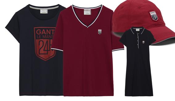 GANT X 24 H DU MANS. De gauce à droite, t-shirt femme en coton (55 €), t-shirt en v bordeaux liseré (55 €), robe polo en coton piqué (149 €) et casquette unisexe rouge en coton (49 €)