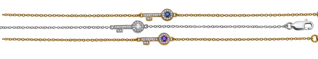 Collection capsule Gringoire Joaillier x Caroline Faindt. Bracelets Bonheur en or jaune ou blanc, saphir, améthyste ou diamants. Serties de diamants. A partir de 495 €
