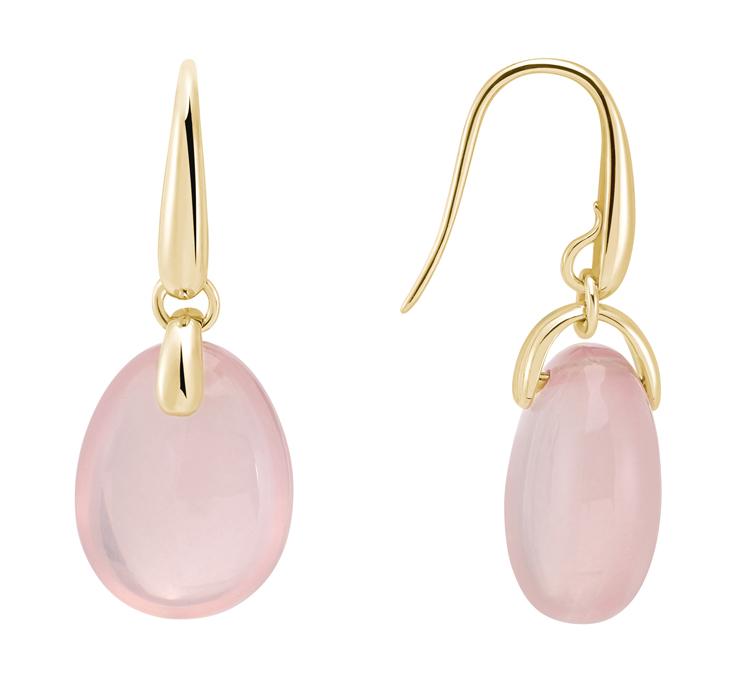 Or du Monde, collection PARADIS. Paire de pendants d'oreille en or jaune et quartz rose.