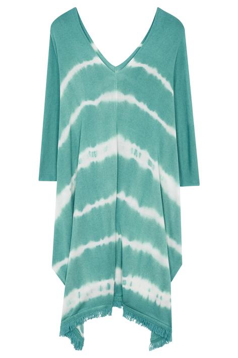 Poncho Gallery, la Kurta, une robe de plage tie & dye, couleur vert lagon en bambou et cachemire.