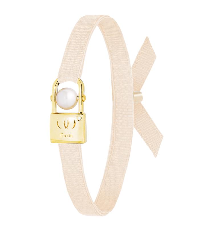 WORMS Paris. Bracelet Urband Cadenas Femme plaqué or jaune zircon perle d'eau douce rose pâle.