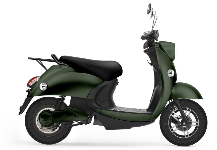 UNU, scooter électrique vert mat foncé.