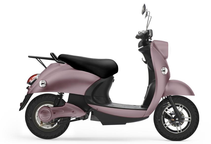 UNU, scooter électrique rose pâle.