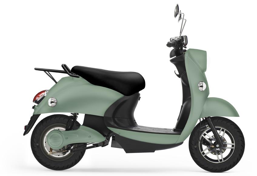 UNU, scooter électrique vert pâle.