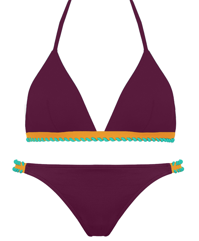 ERES, deux-pièces Cordoba. Soutien-gorge petit triangle et culotte fine . Coloris : deep purple /soleil levant/blue lagoon. 400 €.