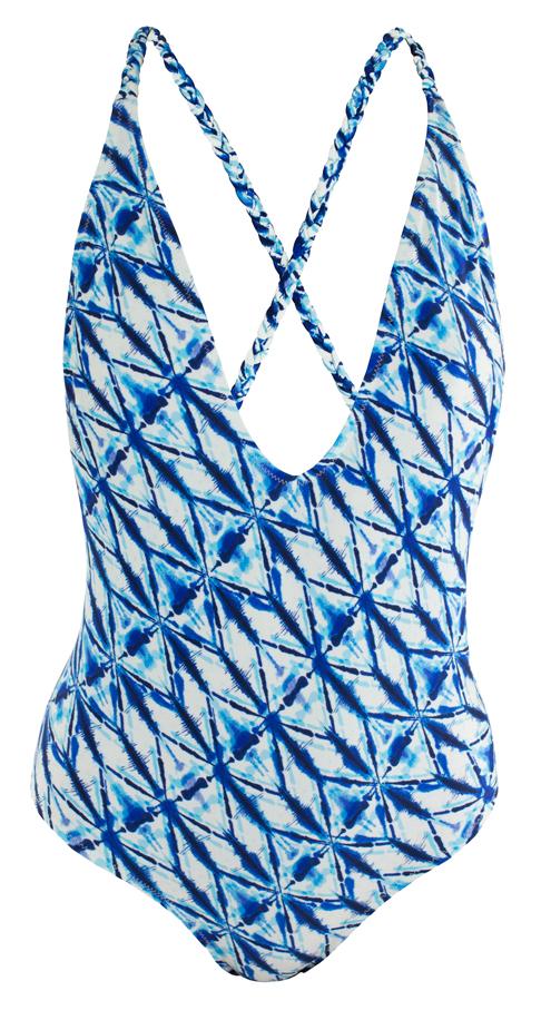 SOWE BIARRITZ, des créations inspirées du Pays Basque pour cette marque née en 2014 à Biarritz. Modèle Mayarco Shibori, une pièce échancrure en V devant, dos bretelles croisées. 59 €