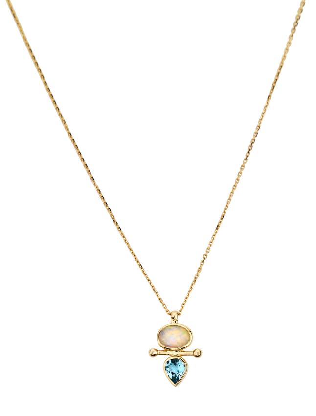 Abïs chez Hod. Pendentif en or jaune opale et aigue marine monté sur une chaîne en or jaune. 690 €