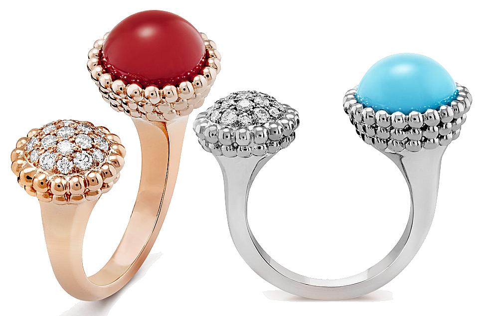 Bague entre les doigts Perlée couleurs Van Cleef & Arpels. Êtes-vous plutôt turquoise ou cornaline ?