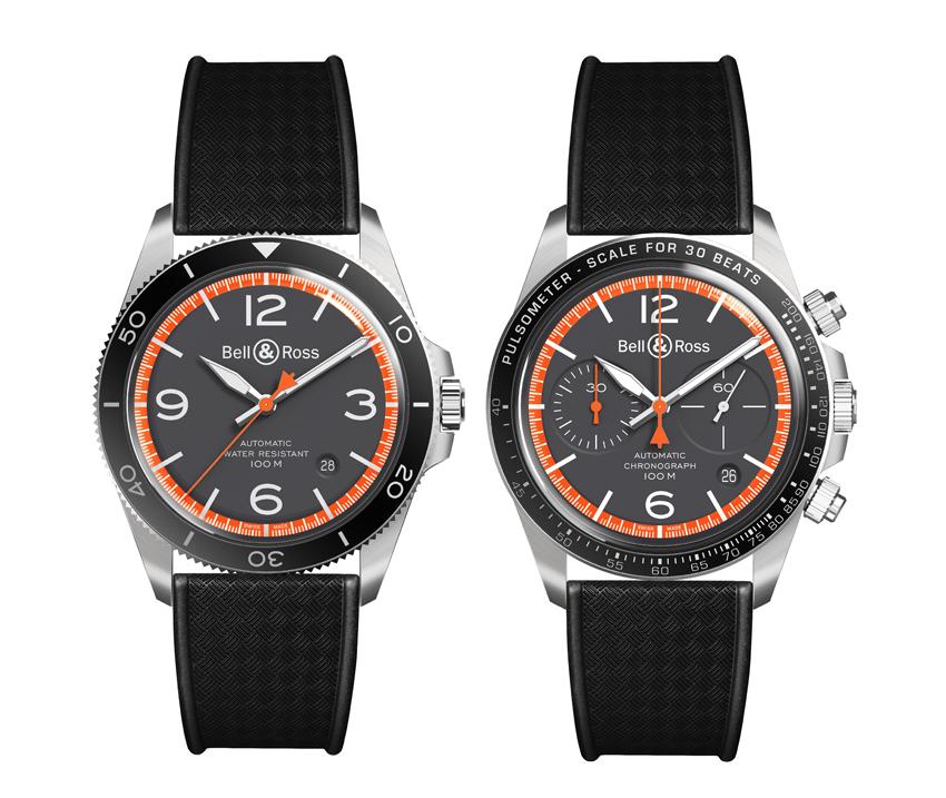 De gauche à droite : BR V2-92 GARDE-CÔTES réf. BRV292-ORA-ST/SRB et chronographe BR V2-94 GARDE-CÔTES Réf. BRV294-ORA-ST/SRB