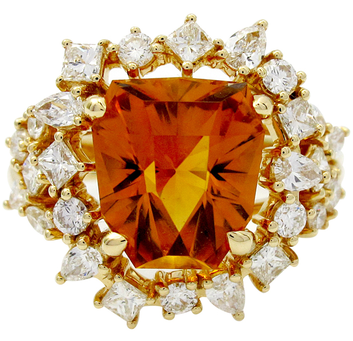 Gringoire Joaillier. Collection GEM, ague King or jaune avec diamants et citrine