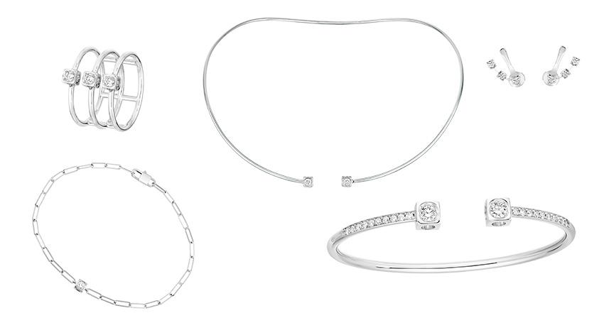 Gringoire Joaillier. Collection Gem, la ligne Rose charme par l'élégance d'une esthétique à l'esprit et la géométrie Art déco.