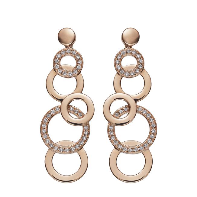 Lassaussois Joaillerie. Boucle d'oreilles en or rose (750/1000e) avec 68 diamants taille brillant 0.31 ct. 3 200 euros