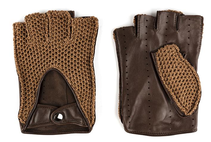 Les gants Chapal, tout un univers lié à la course. Mitaines en cuir et maille brun.