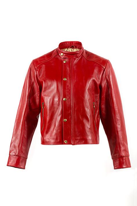 Collection CHAPAL Paris Exclusively. Blouson tendance court et cintré, modèle Portobello en cuir glacé rouge.