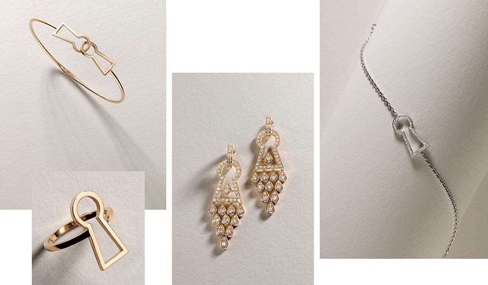 Keyhole, ligne de bijoux inspirée du thème de la serrure, clé magique, clin d'œil symbolique imaginé et dessiné par Marie Paule Quercy avec ce vide au graphisme universellement connu qui renvoie au mystère et à la curiosité. Bague, bracelet rigide, bracelet chaînette, pendentif, en or jaune ou blanc serti ou non de diamants.. Des boucles d'oreilles serties de brillants sont également proposées.