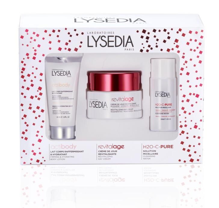 Les Laboratoires Lysedia mettent un point d'honneur à développer une gamme cosmétique à la pointe des recherches en médecine esthétique. Ce nouveau coffret comprend une solution micellaire H2O et une crème de jour revitalisante pour le visage, ainsi qu'un lait corporel hydratant et raffermissant pour le corps. SOn prix : 50 €