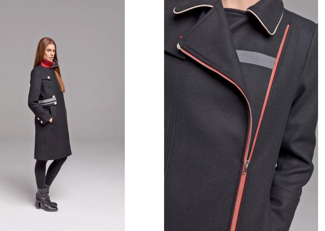 LENER, profitez des soldes pour ce long manteau noir aux finitions léchées.