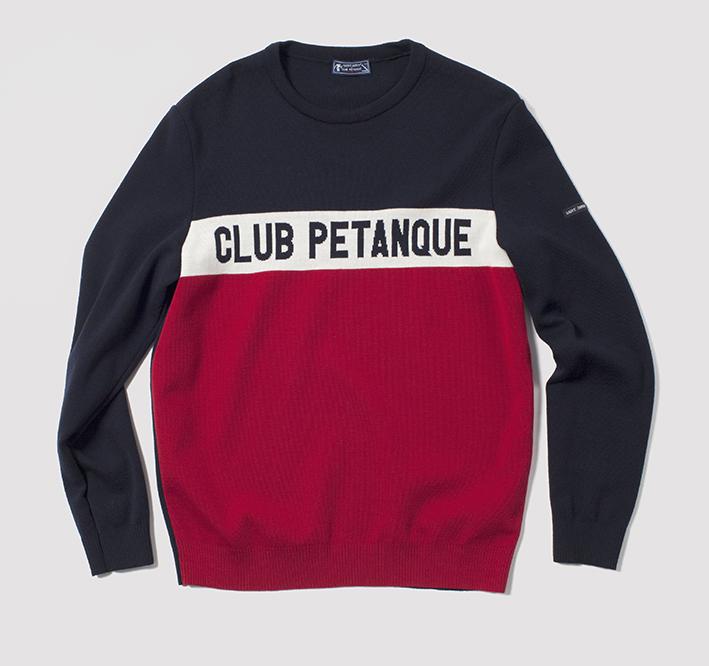 Les maison françaises Saint James et Club Pétanque s'associent pour offrir un sweat bleu blanc rouge aux adeptes (tous genres confondus) de la triplette. 139 €