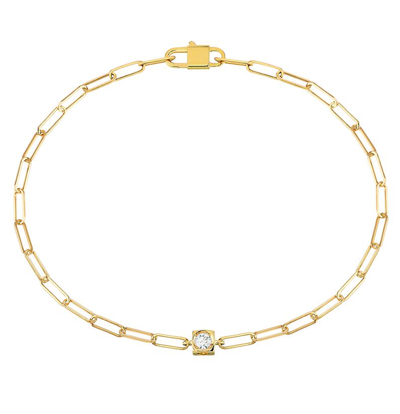 Bracelet Le Cube Diamant en or jaune et un diamant, 840 €