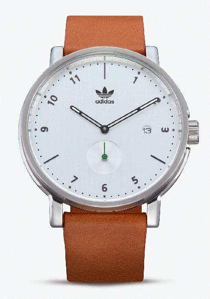 Adidas Watch, modèle DISTRICT LX2. Montre analogique en acier inoxydable (40 mm). Bracelet cuir Horween. Etanche à 50 m. 160 €